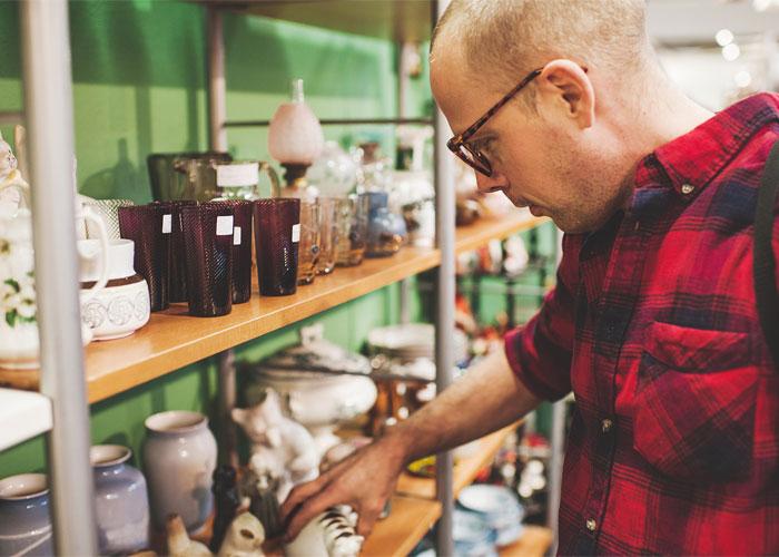 Man shopping at estate sales in Detroit, MI